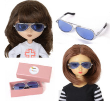 Releaserain Doll Glasses Silver Frame Blue Lens Aviator Sunglasses for Pullip, SD Size BJD Dollfie Dolls