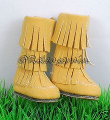 Dollfie DOB Shoes Suede Fringe Moccasin Boots Yellow