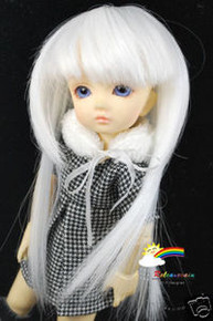 Dollfie Yo-SD Milk White 6-7 Heat Resistance Wig #D6001