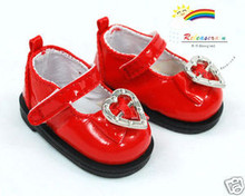 Dollfie Yo-SD Patent Bow Heart Mary Jane Shoes Red