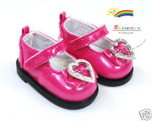 Dollfie Yo-SD Patent Bow Heart Mary Jane Shoes Fuchsia