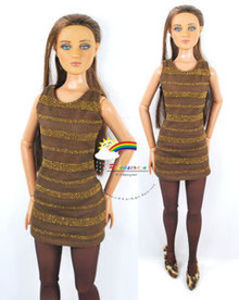 "16"" Tonner Tyler/Gene Outfit Gold Stripes Dress Brown"