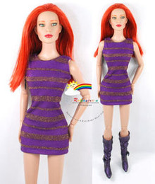 "16"" Tonner Tyler/Gene Outfit Gold Stripes Dress Purple"
