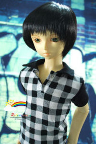 Dollfie SD Black Short 8-9 Heat Resistant Wig #D3233
