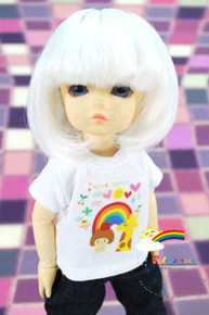 Dollfie Yo-SD Milk White 6-7 Heat Resistant Wig #D6016N