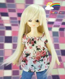 Blond Long 7-8 Heat Resistant Wig #D4015 for MSD BJD Dollfie Ellowyne Wilde Dolls