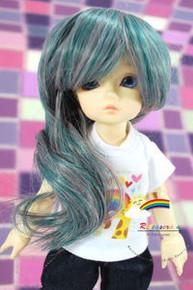 Dollfie Yo-SD Green/Pink 6-7 Heat Resistant Wig #D6146N