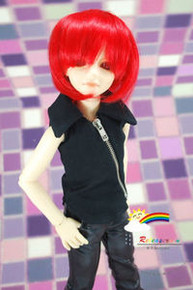 Red Costume 7-8 Heat Resistant Wig #D4043 for MSD BJD Dollfie Ellowyne Wilde Dolls