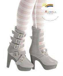 "16"" Tonner Tyler/Ellowyne Shoes 5-Strap Boots Pt Grey"