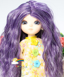 "Long Wavy 5-6 Wig Purple/White for Lati Yellow Pukifee BJD Dollfie 16"" Tonner Tyler #8033"