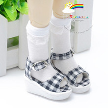 "Black Checker Shoes Sandals for Yo-SD Dollfie/12"" Kish"