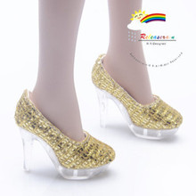 "Clear Pumps Shoes Gold for 22"" Tonner American Model"