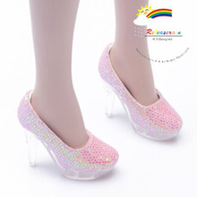 """Clear Pumps Shoes Pink for 22"""" Tonner American Model"""