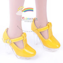 "Clear Stiletto T-Strap Shoes Patent Yellow for 22"" Tonner American Model doll"