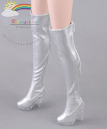 "Clear Heel Shoes Stretch Thigh Boots Silver for 22"" Tonner American Model Doll"