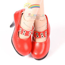 "Metal Holes Strap Mary Jane Heel Shoes Red for 17"" Tonner DeeAnna Denton dolls"