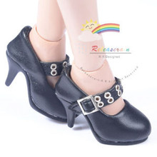 "Metal Holes Strap Mary Jane Heel Shoes Black for 17"" Tonner DeeAnna Denton dolls"