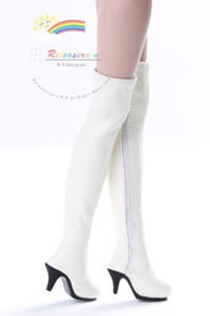 "Over Knee Thigh High-Heel Boots Shoes Ivory for 17"" Tonner DeeAnna Denton dolls"