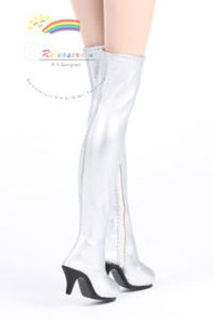 "Over Knee Thigh High-Heel Boots Shoes Silver for 17"" Tonner DeeAnna Denton dolls"
