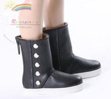 """5-Stud Leather Boots Shoes Black for Slim MSD BJD Minifee Unon 17"""" Tonner Matt/Lara Croft/14"""" Kish dolls"""