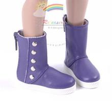 """5-Stud Leather Boots Shoes Purple for Slim MSD BJD Minifee Unoa 17"""" Tonner Matt/Lara Croft/14"""" Kish dolls"""