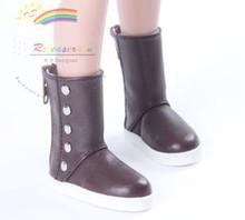 """5-Stud Leather Boots Shoes Choc. for Slim MSD BJD Minifee Unoa 17"""" Tonner Matt/Lara Croft/14"""" Kish dolls"""