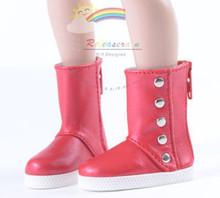 """5-Stud Leather Boots Shoes Red for Slim MSD BJD 17"""" Tonner Matt/Lara Croft/14"""" Kish dolls"""