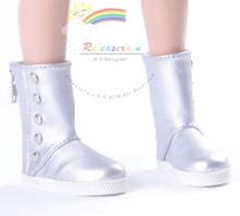 """5-Stud Leather Boots Shoes Silver for Slim MSD BJD Minifee Unoa 17"""" Tonner Matt/Lara Croft/14"""" Kish dolls"""