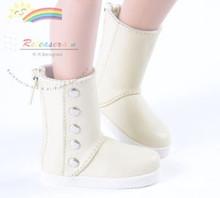 "5-Stud Leather Boots Shoes Ivory for Slim MSD BJD Minifee Unoa 17"" Tonner Matt/Lara Croft/14"" Kish dolls"