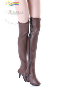 "Over Knee Thigh High-Heel Boots Shoes Brown for 17"" Tonner DeeAnna Denton dolls"