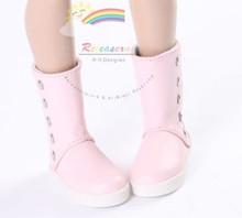 """5-Stud Leather Boots Shoes Pink for Slim MSD BJD Minifee Unoa 17"""" Tonner Matt/Lara Croft/14"""" Kish dolls"""