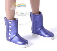 "5-Stud Leather Boots Shoes M.Violet for Slim MSD BJD Minifee Unoa 17"" Tonner Matt/Lara Croft/14"" Kish doll"