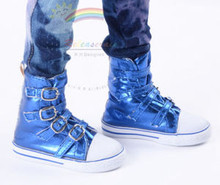 Buckles Ankle Faux Leather Sneakers Boots Shoes Metallic Blue for SD13 Boy Rainy Girl BJD Dollfie Dolls