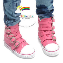 Buckles Ankle Faux Leather Sneakers Boots Shoes Rose Pink for SD13 Boy Rainy Girl BJD Dollfie Dolls