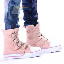 Buckles Ankle Faux Leather Sneakers Boots Shoes Flesh Pink for SD13 Boy Rainy Girl BJD Dollfie Dolls