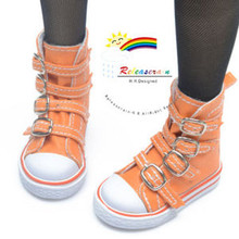 Buckles Ankle Leather Sneakers Boots Shoes Orange for SD Dollfie dolls