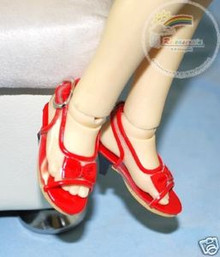 Dollfie MSD Unoa Shoes Clear/Patent Bow Sandals Red