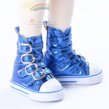 Buckles Ankle Leather Sneakers Boots Shoes Metallic Blue for MSD Dollfie dolls