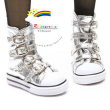 Buckles Ankle Leather Sneakers Boots Shoes Silver for SD Dollfie dolls