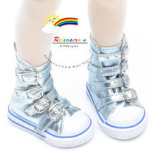 Buckles Ankle Leather Sneakers Boots Shoes Metallic Water for MSD Dollfie dolls