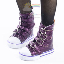 Buckles Ankle Leather Sneakers Boots Shoes Metallic Grape for SD Dollfie dolls