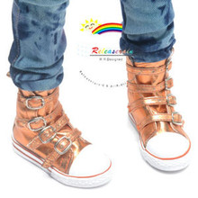 Buckles Ankle Faux Leather Sneakers Boots Shoes Metallic Orange for SD13 Boy Rainy Girl BJD Dollfie Dolls