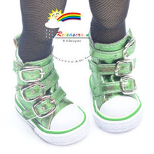 "Buckles Ankle Leather Sneakers Boots Shoes M. Green for Yo-SD Dollfie/12"" Kish"