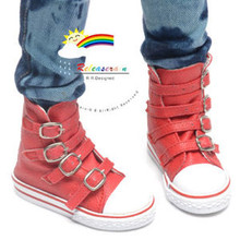 Buckles Ankle Faux Leather Sneakers Boots Shoes Red for SD13 Boy Rainy Girl BJD Dollfie Dolls