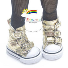 "Buckles Ankle Faux Leather Sneakers Boots Shoes Gold for Yo-SD Dollfie/12"" Kish"