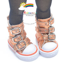 "Buckles Ankle Faux Leather Sneakers Boots Shoes M. Orange for Yo-SD Dollfie/12"" Kish"