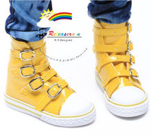 Buckles Ankle Faux Leather Sneakers Boots Shoes Pt Yellow for SD13 Boy Rainy Girl BJD Dollfie Dolls