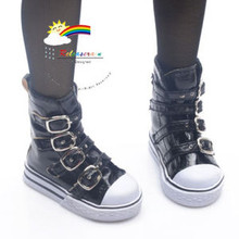 Buckles Ankle Leather Sneakers Boots Shoes Patent Black for SD Dollfie dolls