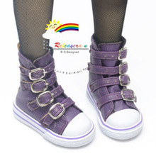 Buckles Ankle Leather Sneakers Boots Shoes Purple for SD Dollfie dolls