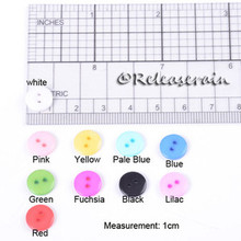 Releaserain 10mm Round 2-Hole Doll Clothes Sewing Plastic Buttons Set of 20